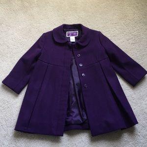 Janie and Jack 💜 Purple Wool Coat size 12-24 mos